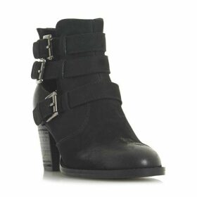 Steve Madden Yanky SM Multi Buckle Cut Out Ankle Boots