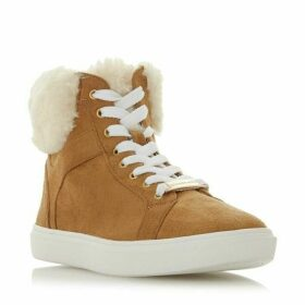 Head Over Heels Ello Faux Fur Trim High Top Trainers