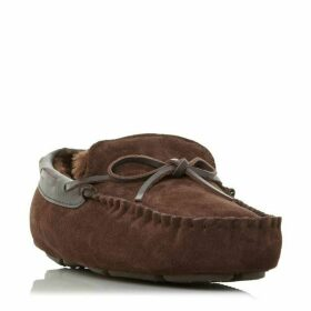Dune Freeze Faux Fur Tie Moccasins Slippers