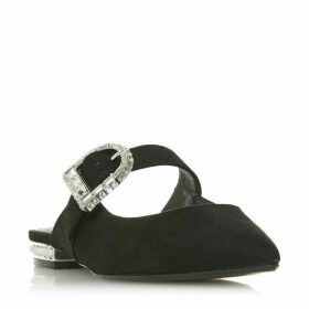 Dune Dasher Diamante Buckle Flat Shoes