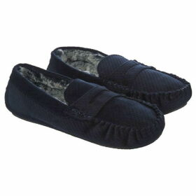 Howick Textured Velour Moccasin Slippers