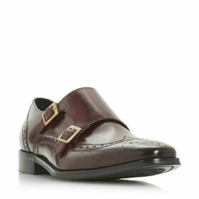 Dune Patch Brogue Double Buckle Monk Shoes