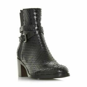 Dune Black Peirce Cross Strap Block Heel Ankle Boots