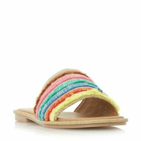 Dune Lemonade Colourful Frayed Trim Mule Shoes
