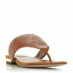 Lauren Deandra Embossed Logo T-Post Sandals