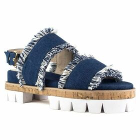 Shellys London Dembe frayed denim cleated sole sandals