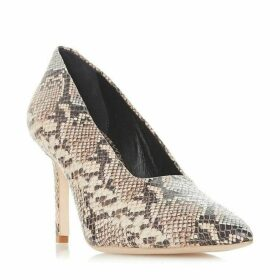 Dune Black Arllows Snakeskin Square Topline Court Shoes