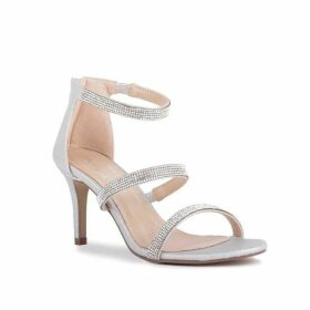 Paradox London Pink Sandro Mid Heel Diamante Sandals