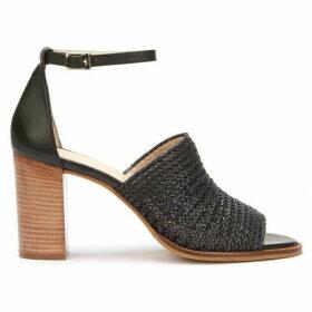 Mint Velvet Layla Black Woven Heel Sandal
