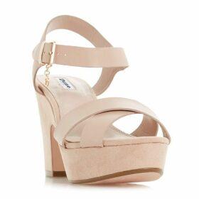 Dune Lyla Cross Block Heel Sandals