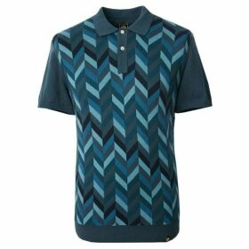 Pretty Green Chevron Blocked Knitted Polo