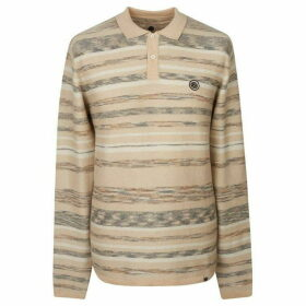 Pretty Green Long Sleeve Space Dyed Knitted Polo