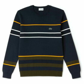 Lacoste Crew Neck Striped Milano Cotton Sweatshirt