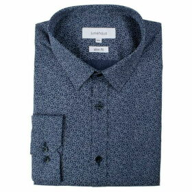 Limehaus Blue Mosaic Print Forward Point Shirt