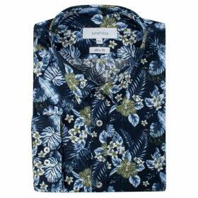 Limehaus Navy Hawaiian Print Forward Point Shirt