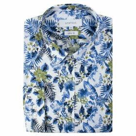 Limehaus White Hawaiian Print Forward Point Shirt