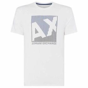 Armani Exchange Striped Square Logo T-Shirt
