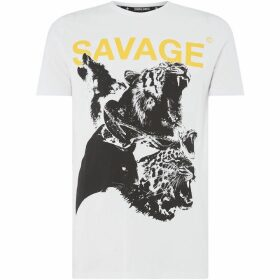 Criminal Damage Savage Animal Printed T-Shirt