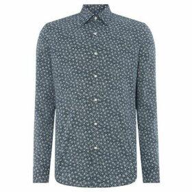 Michael Kors Floral Print Long Sleeve Slim Fit Shirt