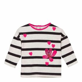 Catimini Long Sleeve Striped Flowery T-Shirt