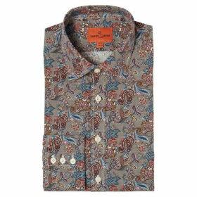 Simon Carter Puppytooth Flower Print Shirt
