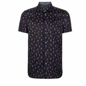 Ted Baker Phmingo Cotton Bird Print Shirt