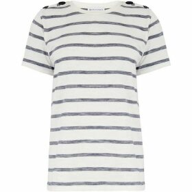 Warehouse Texture Stripe Button T-Shirt