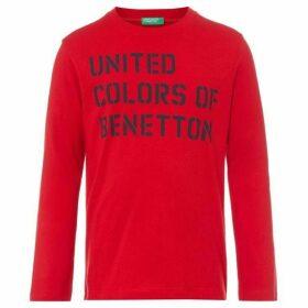 Benetton Text Logo Long Sleeve Cotton Tshirt