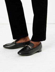 M&S Collection Leather Bar Trim Loafers