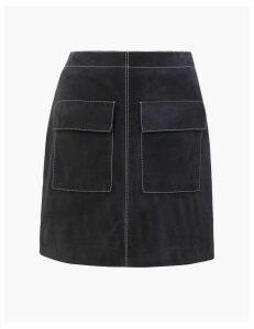 Autograph Suede Mini A-Line Skirt