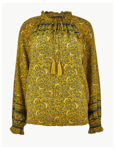 M&S Collection Tassel Detail High Neck Blouse
