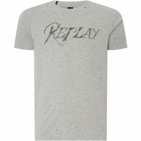 Replay Printed T-Shirt With Distressed Details