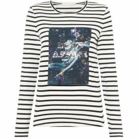 Oui Stripe and motif jersey top