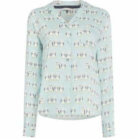 Maison De Nimes Hoot aop woven long sleeve top