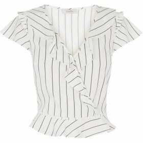 Oasis Linen look pinstripe frill top
