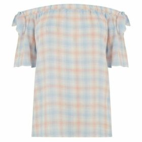 Oasis Pastel check bardot top