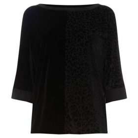 DKNY three quarter sleeve velvet top
