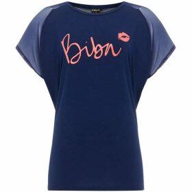 Biba Mesh sleeve `Biba Kiss` tee