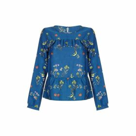 Yumi Bird And Floral Peplum Top