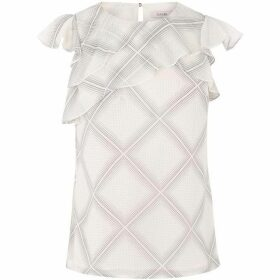 Oasis Chiffon Check Frill Top