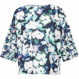 French Connection Dreda Crepe Light Fluted Sleeve Top