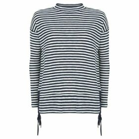 Mint Velvet Striped Lace Up Batwing Tee