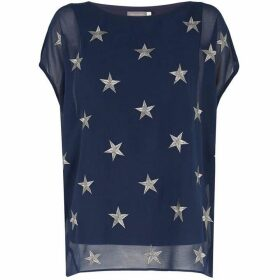 Mint Velvet Navy Metallic Star Cocoon Tee