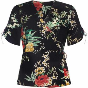 Yumi Oriental Flower Wrap Top