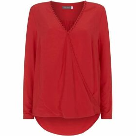 Mint Velvet Red Rouleaux Wrap Effect Top