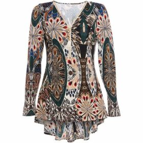 Quiz Peacock Print Dip Hem Zip Top