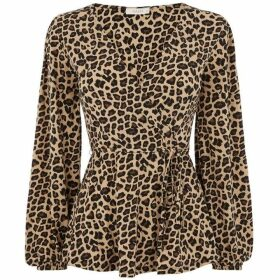 Oasis Animal Crepe Wrap Top