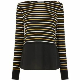 Warehouse Stripe Button Shoulder Top