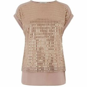 Oasis Sequin Plisse Roll Sleeve Tee