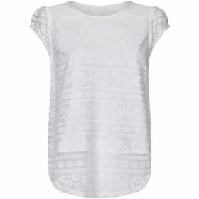 Yumi Lace Detail Top With Woven Back Insert